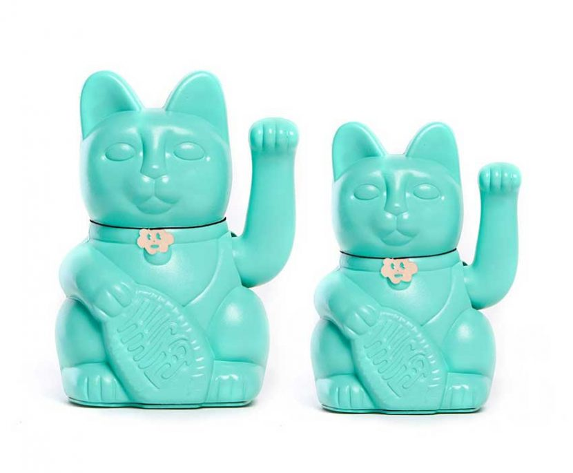Lucky cat color turquesa