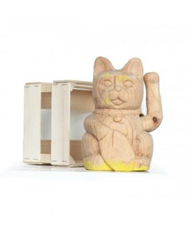 Wooden Lucky Cat English Yellow