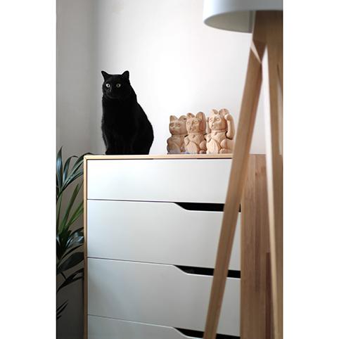 Lucky cat gato de la suerte de madera
