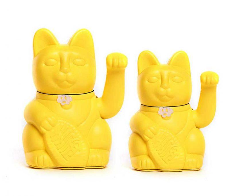 Lucky cat color amarillo limón
